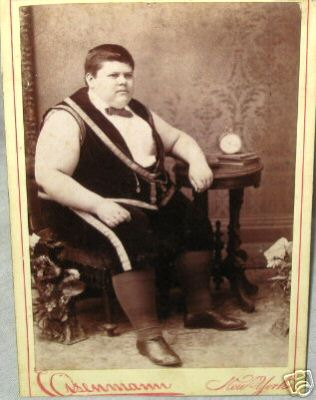 verso says: Chauncey Moran, Indiana Fat Boy, Age 14 and Weight 448 pounds